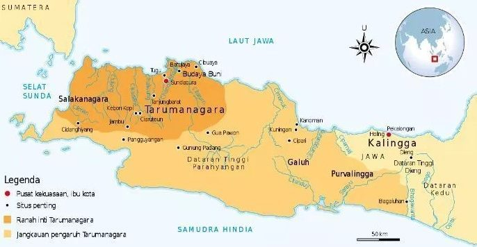 peta letak kerajaan tarumanegara